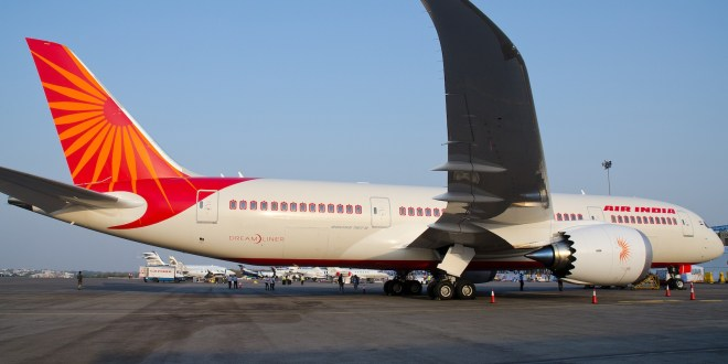 Air India Boeing 787-8 Dreamliner line number 35 test registered N1015 (later became VT-ANH) at the India Aviation show, Hyderabad March 2012. Photo copyright Devesh Agarwal.