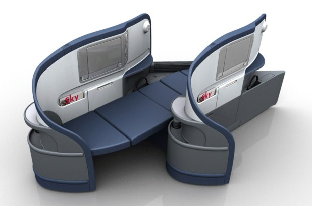 Delta Air Lines BusinessElite class full flat-bed seat on Boeing 777