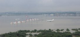 Chennai airport flooded. IAF helicopter view from west.