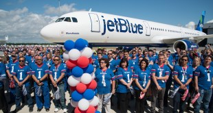 Airbus employees at the delivery of the first aircraft made at Mobile.