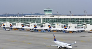 Line up of Lufthansa aircraft at the Terminal 2 satellite.