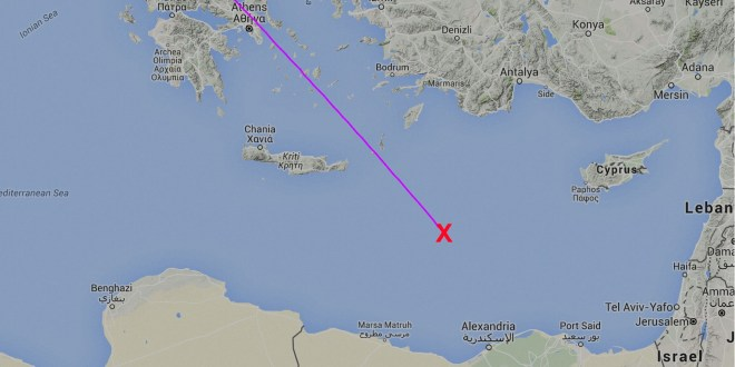 Approximate last known position of missing Egyptair flight MS804 Paris to Cairo. Map courtesy FlightRadar24.com