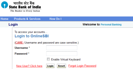 sbi net banking login