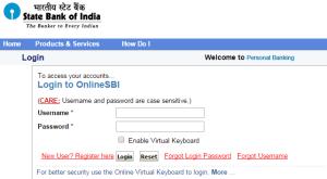 sbi online login page