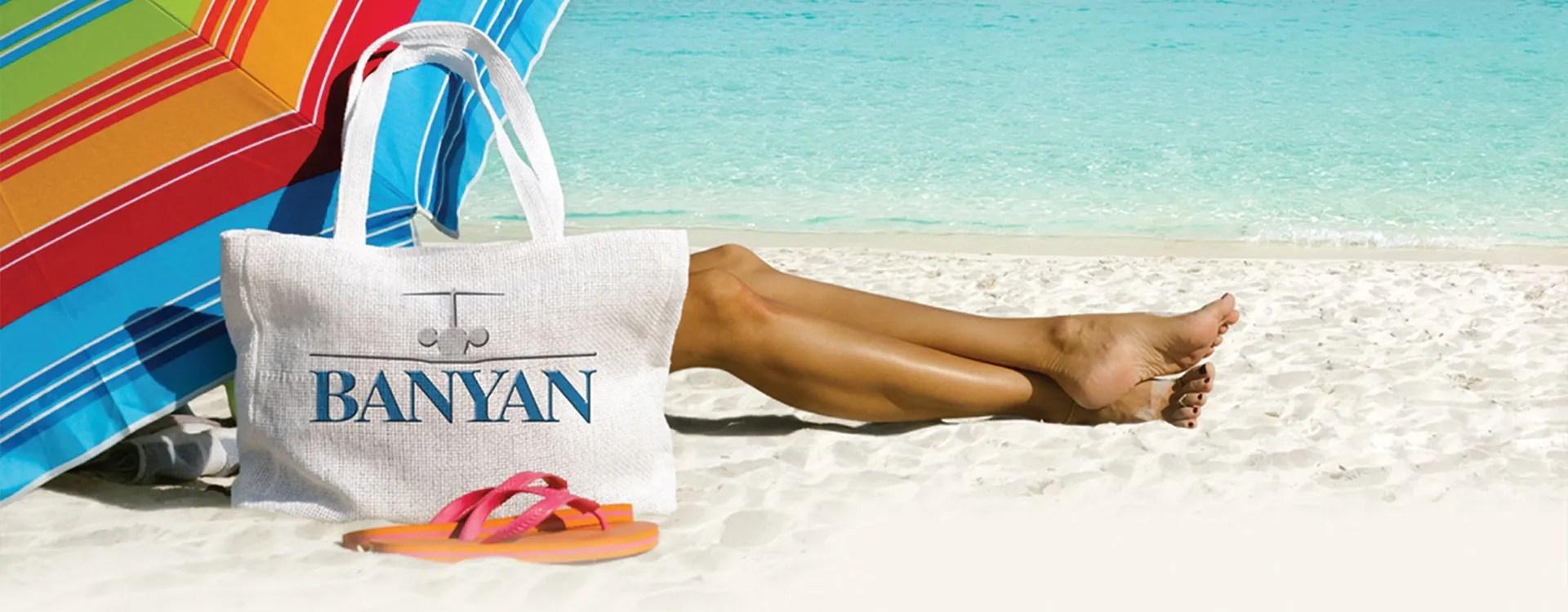 Banyan bag on bahamas beach