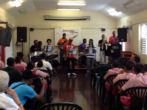 Mylon Clarke out front on alto sax at Irving Wilson School