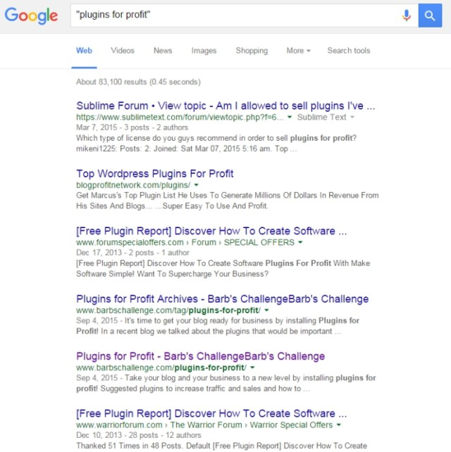 google search plugins for profit