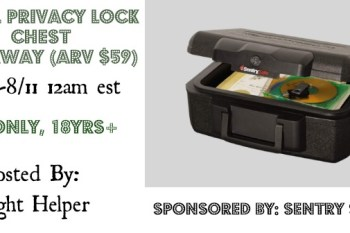 Sentry Safe Small Privacy Lock Chest Giveaway (arv $59) Ends 8/11