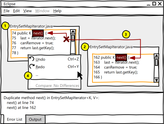 Explanatory interface mockup, conceptualized in the Eclipse IDE.