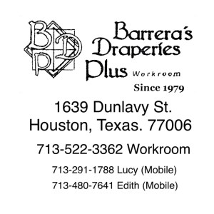 Contact Us Page Info - Barrera's Draperies Plus