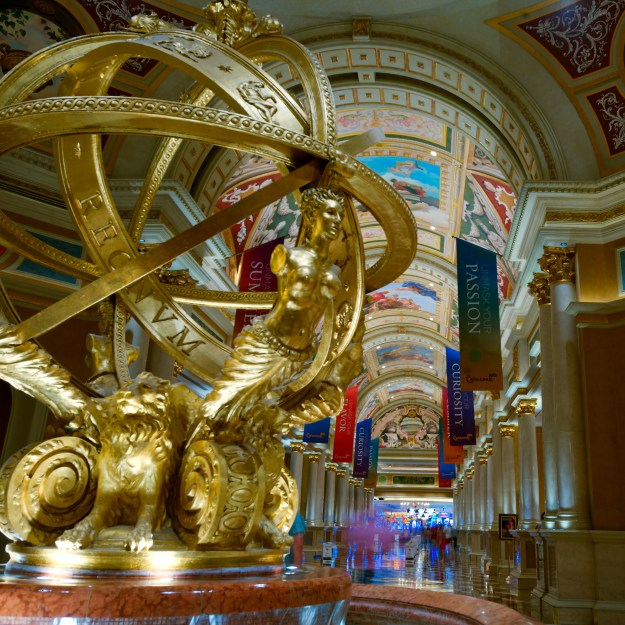 The Grand Gallery and one of the sculptures at The Venetian Hotel in Las Vegas