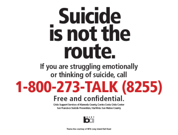 Suicide is not the route, with number