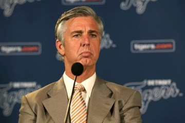 DETROIT, MI - OCTOBER 21:  President CEO General Manager David Dombrowski talks to the press during the retirement announcement of manager Jim Leyland at Comerica Park on October 21, 2013 in Detroit, Michigan.  (Photo by Leon Halip/Getty Images)