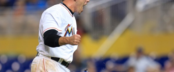 Jose Fernandez #16 of the Miami Marlins reacts after recording the third out of the top of the third inning of the game against the Arizona Diamondbacks against the Arizona Diamondbacks at Marlins Park on May 4, 2016 in Miami, Florida. (Photo by Rob Foldy/Getty Images)