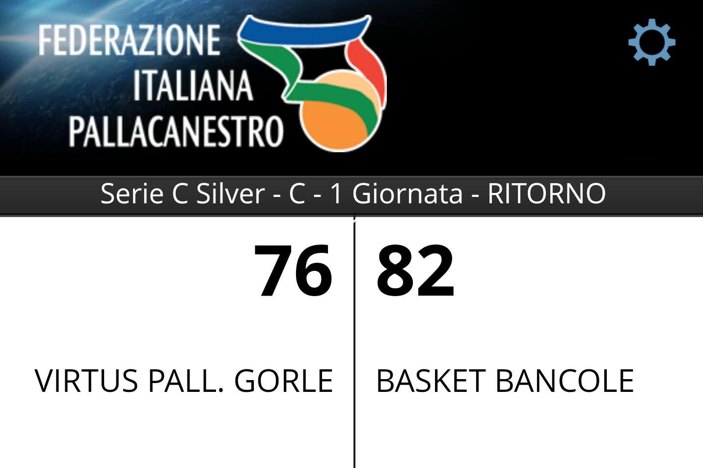 Serie C Silver - 1 Ritorno: Virtus Gorle - Pontek Bancole 76-82