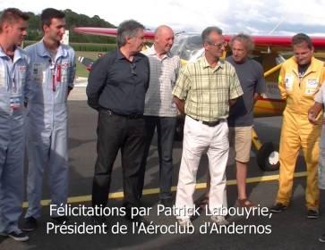 InfoBassin  Retour des 2 Alex à l'aéroclub d'Andernos après le HOP Tour