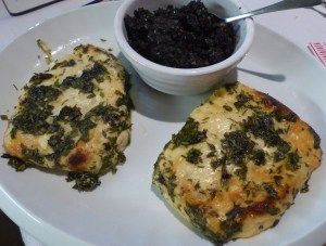 Baked marinated halloumi with tapenade