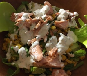 Salmon salad with ranch dressing