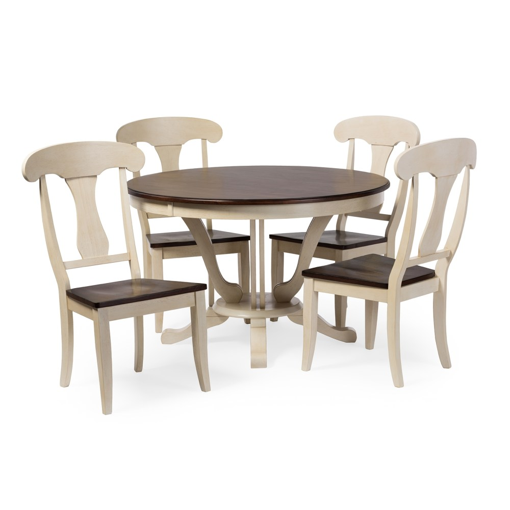 Baxton Studio Napoleon Chic Country Cottage Antique Oak Wood and Distressed White 5 Piece Dining Set with 48 Inch Round white distressed kitchen table Baxton Studio Napoleon Chic Country Cottage Antique Oak Wood and Distressed White 5 Piece Dining Set with 48 Inch Round Pedestal Base Fixed Top Dining Table