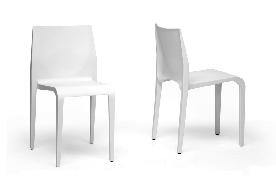 Baxton Studio Blanche Modern White Molded Plastic Dining Chair Set Of 2