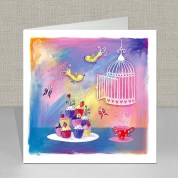 Cupcakes and Birdcage Greeting Card