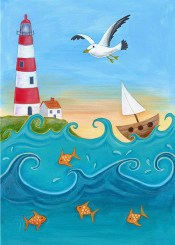 Stripey Lighthouse Greeting Card