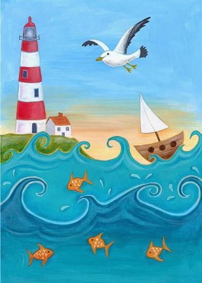 Stripey Lighthouse Greeting Card