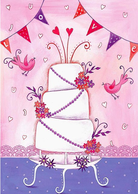 Love - Wedding cake and Birds Wedding Card