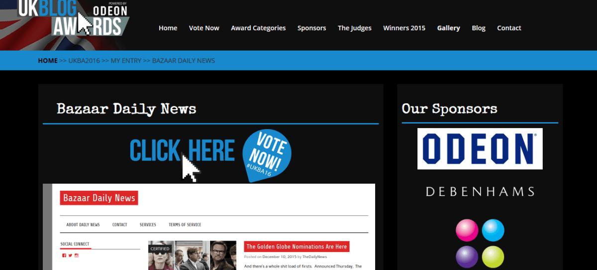 Daily News receives 3 nominations at the 2016 UK Blog Awards #UKBA16