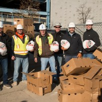 BBL unloads turkeys to hand out to employees and subcontractors on-site.