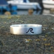 Wave - recycled silver square band ring