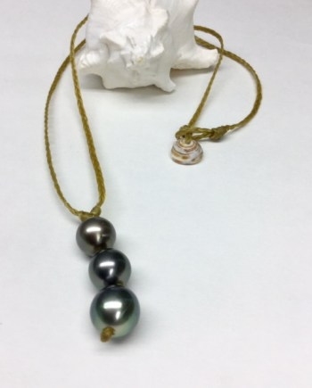 Tahitian 3 pearl woven necklace