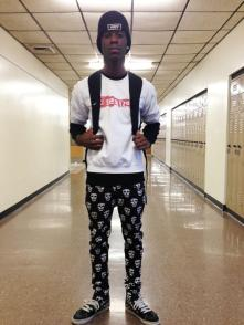 Williams wears a pair of black skull pants from Hot Topic with his white Acme shirt. Photo by Aniqa Rahman.