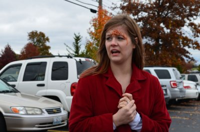 Betty Quick, a suspect of the accident, discusses with Bearing News journalists her concern with passenger Sally Rider's injuries as a result of this car accident.
