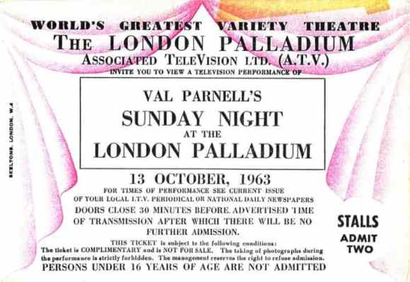 Ticket for The Beatles at the London Palladium, 13 October 1963