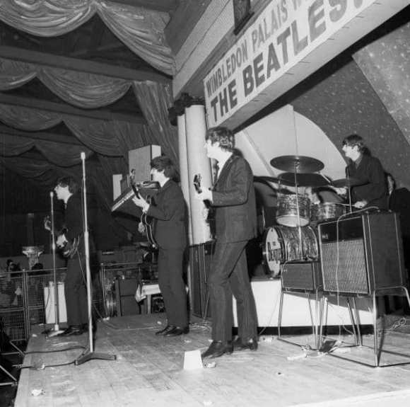 The Beatles onstage at Wimbledon Palais, London, 14 December 1963