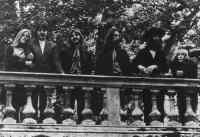 Linda McCartney and Yoko Ono with The Beatles at their final photography session, Tittenhurst Park, 22 August 1969