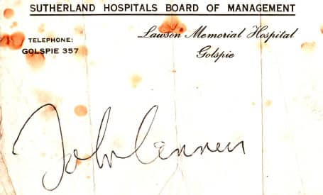 John Lennon's autograph, signed at Lawson Memorial Hospital, Golspie, Scotland, July 1969