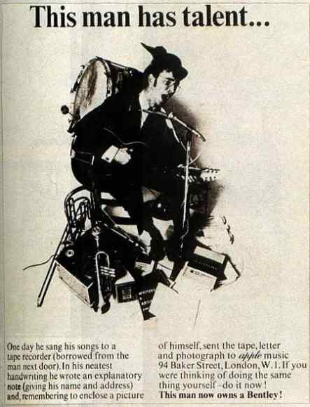 'This man has talent' advertisement, Apple Corps, 1968
