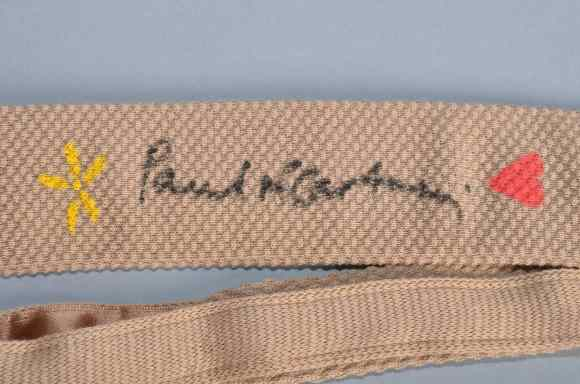 Harvie & Hudson tie signed by Sir Paul McCartney, 2012