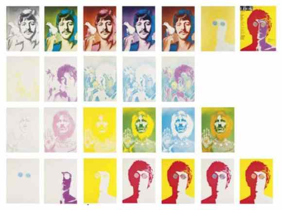 Collection of colour separation proofs for Richard Avedon's psychedelic portraits of The Beatles for Look magazine, 1968