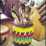 Rainbow Ridges Jar Cozy… Free Crochet Pattern!