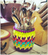 Rainbow Ridges Jar Cozy... Free Crochet Pattern