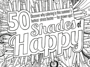 50 Shades of happy adult coloring page