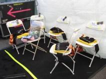 Backstage, Devo's tent.