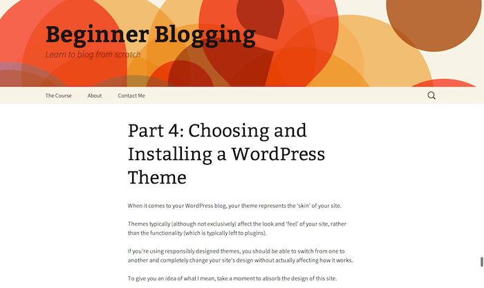 Beginner Blogging (Twenty Thirteen Theme)