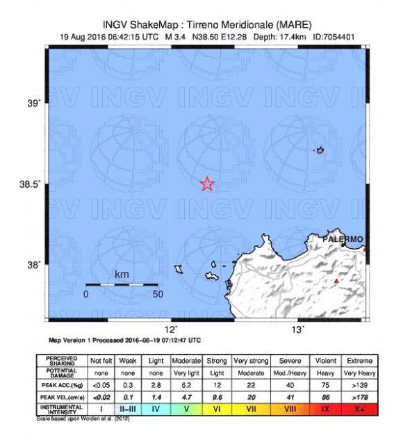Lieve scossa di terremoto vicino Trapani e San Vito Lo Capo