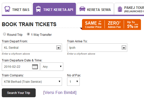 Easybook Search KTM Ticket