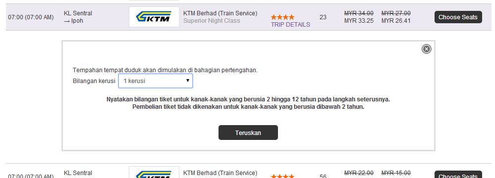 Easybook Seat Selection KTM Ticket