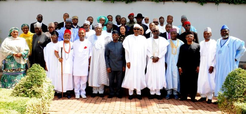 PIC.7. PRESIDENT MUHAMMADU BUHARI (6TH R); VICE-PRESIDENT YEMI OSINBAJO (7TH L) AND NEW MINISTERS AFTER THEIR INAUGURATION BY PRESIDENT BUHARI. AT THE PRESIDENTIAL VILLA ABUJA ON WEDNESDAY WEDNESDAY (11/11/15). 7114/11/11/2015/ICE/JAU/NAN